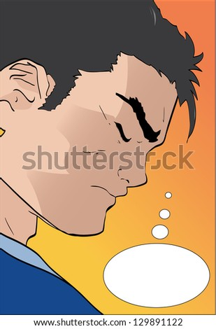 Vector comic book character thinking - stock vector