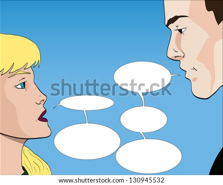 Vector comic book style couple talking with speech bubbles - stock vector