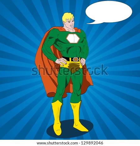 Vector comic book superhero - stock vector