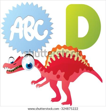 Vector comic cute animals ABC: D is for Dinosaur - stock vector