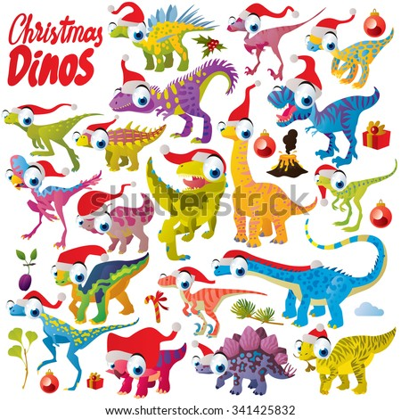 Vector comic funny cute colorful collection set of christmas dinosaurs with fir tree, presents, holly and santa hats - stock vector