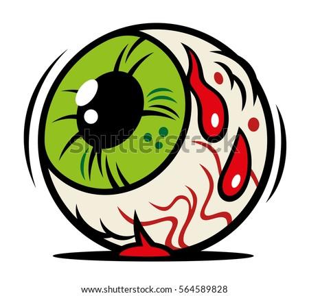 vector comic illustration horror halloween eyeball stock vector rh shutterstock com 3d eyeball vector eyeball blood vector