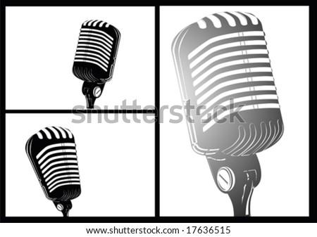 VECTOR comic style white/black retro microphone - stock vector