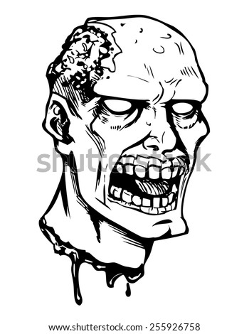 Vector comics illustration of zombie head