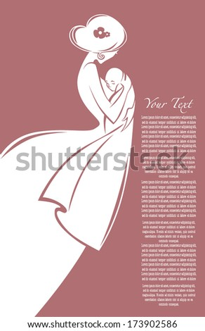 vector commercial background with symbol of romantic mother love and newborn baby - stock vector