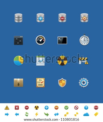 Vector common website icons. Database - stock vector