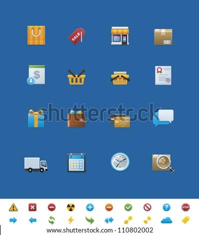 Vector common website icons. Shop - stock vector