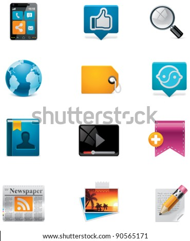 Vector communication and social media icon set. Part 2 - stock vector