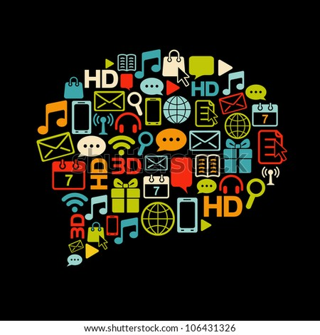 Vector communication bubble made from colorful icons. Retro colors on black. - stock vector