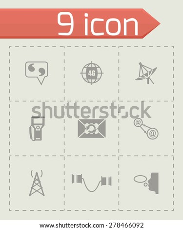 Vector Communication icon set on grey background - stock vector