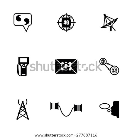 Vector Communication icon set on white background - stock vector