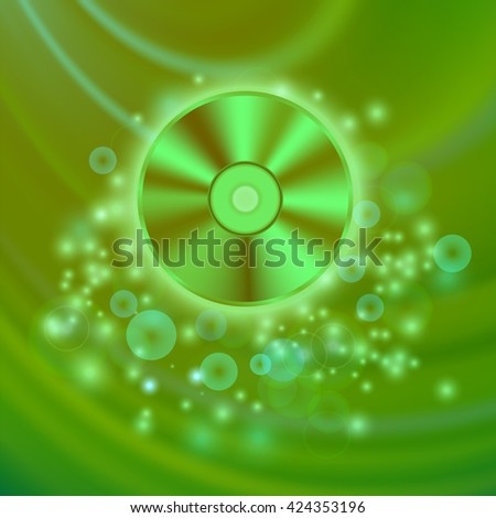 Vector Compact Disc Isolated on Green Wave Blurred Background - stock vector