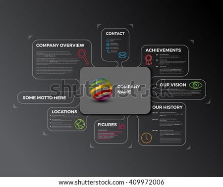 Vector Company infographic overview. Company profile design template - dark version. Company profile. Business company profile. Company infographic overview. Company Infographic Template. Profile. - stock vector