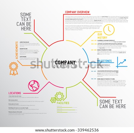 Vector Company infographic overview design template with thin line icons - stock vector