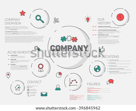 Vector Company infographic profile design template with modern hipster thin line icons (red and teal)  - stock vector