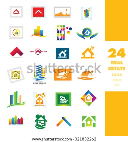 Vector company logo icon element template set realty house real estate