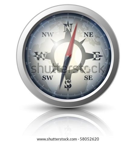 Vector compass icon - stock vector