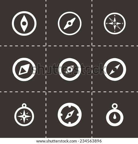Vector compass icon set on black background - stock vector