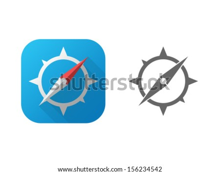 Vector Compass Icon Symbol Set - stock vector