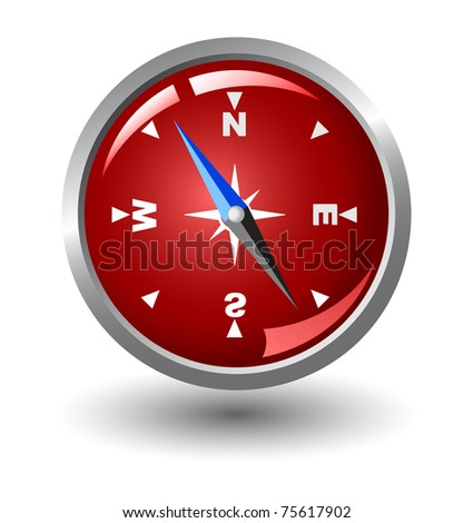 vector compass with red background inside, isolated on white