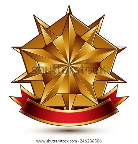 Vector complicated glossy design element, luxury 3d polygonal golden star placed on a decorative blazon, conceptual graphic coat of arms with wavy red ribbon, clear EPS 8. - stock vector