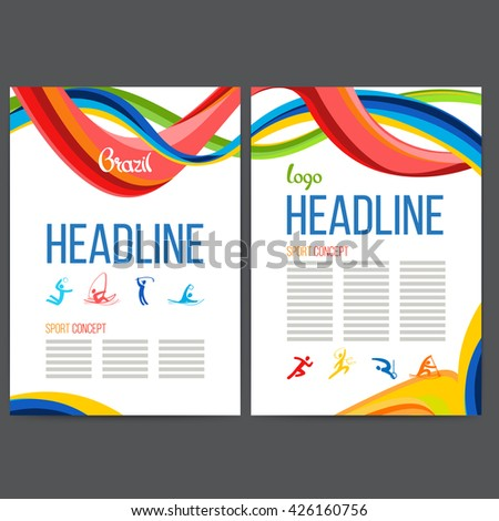 Vector composition of a wave of bands with different colors are intertwined including sport symbols. Concept brochure, web sites, page, leaflet, signs and logo text separately Brazilian carnival. - stock vector