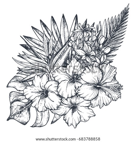 Vector composition hand drawn black white stock vector 2018 vector composition of hand drawn black and white tropical flowers palm leaves jungle plants mightylinksfo Images