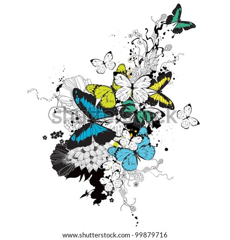 Vector composition with butterflies and flowers - stock vector