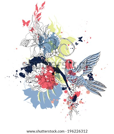 Vector composition with humming-bird  and flowers eps10 - stock vector