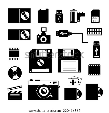 vector computer and storage icons set  - stock vector
