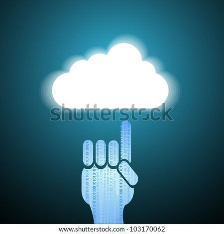 Vector computer cloud with hand on blue. Eps10 - stock vector