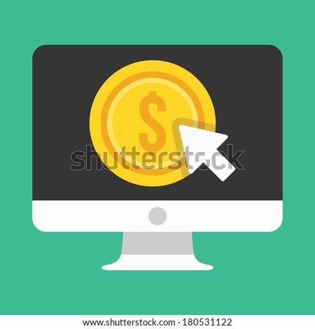 Vector Computer Display Pay per Click Icon - stock vector