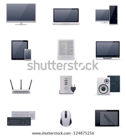 Vector computer icon set - stock vector
