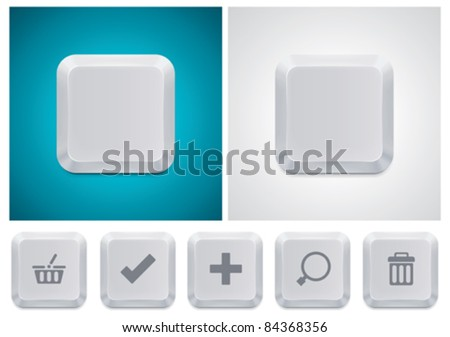 Vector computer keyboard button square XXL icon - stock vector