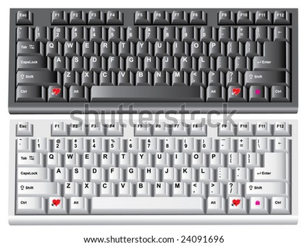 vector computer keyboards with fall in love and send a gift buttons