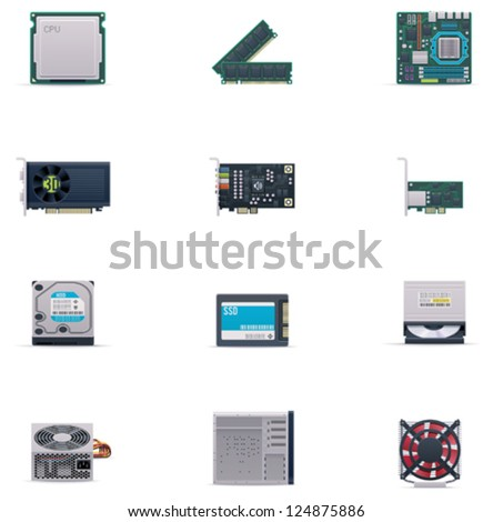 Vector computer parts icon set - stock vector