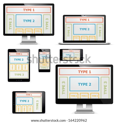 Vector computers with patterns set 1 - stock vector
