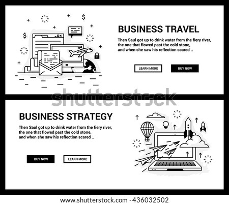 Vector concept, a set of banners for the site. Mini illustration of icons on the topic of business travel, the development strategy. Drawn in an unusual modern flat linear style. - stock vector