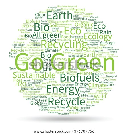 Vector concept abstract green ecology or energy and conservation word cloud text isolated on white background for environment, recycle, earth, clean, alternative, protection, energy, eco friendly bio