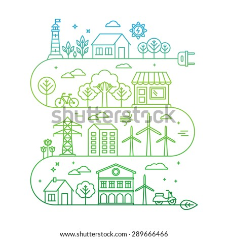 Vector concept and infographic design elements in linear style - city illustration with alternative energy generators - nature conservation and protection with modern innovation and technologies - stock vector
