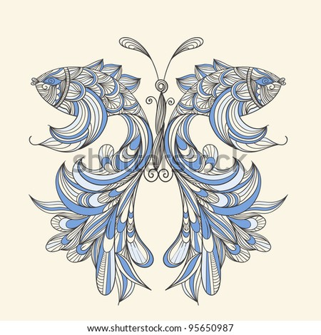 vector concept butterfly with wings - fishes, fishes can be used separately - stock vector