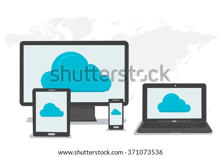 Vector concept cloud storage and safe data in internet. Symbol of cloud storage on Various data in cloud storage on the screen of computer tablet laptop smartphone. Flat style. Web infographics - stock vector