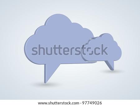 Vector concept computer cloud with bubble speech - stock vector