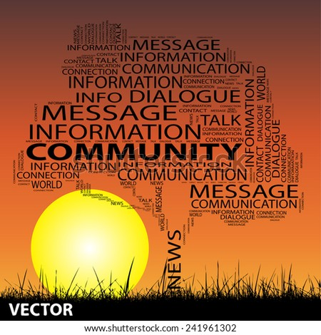 Vector concept conceptual black tree grass word cloud on sunset sky and sun background for communication, message, mail, relation, dialog, talk, report, info, link, contact, email, internet wordcloud - stock vector