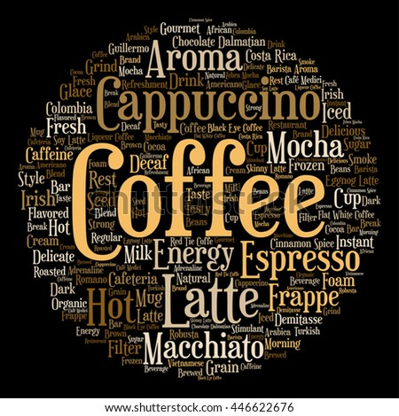 Vector concept conceptual creative hot coffee, cappuccino or espresso round abstract word cloud isolated on background, metaphor to morning, restaurant, italian, beverage, cafeteria break energy taste - stock vector