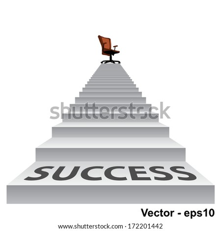 Vector concept conceptual 3d success stair climbing to a leader,chief or promotion chair on top isolated white background - stock vector