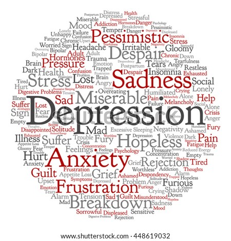 Vector concept conceptual depression mental emotional disorder round abstract word cloud isolated on background metaphor to anxiety, sadness, negative, sad, problem despair unhappy frustration symptom - stock vector