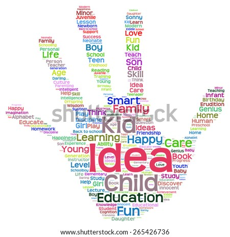 Vector concept conceptual education abstract hand print word cloud, metaphor to child, family, school, life, learn, knowledge, home, study, teach, educational, achievement, childhood, teen handprint - stock vector