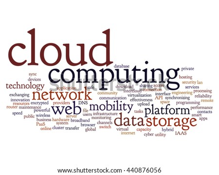 Vector concept conceptual web cloud computing technology abstract wordcloud isolated on background, metaphor to communication, business, storage, service, internet, virtual, online, mobility hosting - stock vector