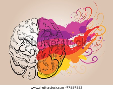 vector concept - creativity and brain - stock vector